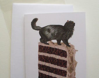 Black Cat on Layered Cake Slice Greeting Card