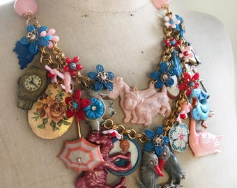 Vintage Toy Necklace, 1940's and 1950's Toys, Statement, Bib - Child's Play