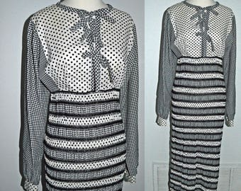 POLKA DOT BALL - vintage 1960s black white dots and  gingham ruched maxi boho peasant dress xs or small