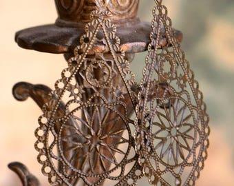 Brass Filigree Earrings in Antiqued Bronze - Large but Light