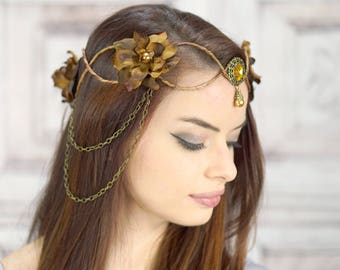 Elven Crown, Brown and Amber, Elven Headdress, Fairy Crown, Costume Headpiece, Headdress, Flower Crown, Floral Crown, Woodland