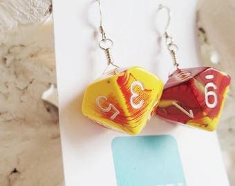 READY TO SHIP Dice Earrings - D10 Dice Jewelry - Yellow and Red Ten Sided Dice Dangle Earrings on Sterling Silver Wire