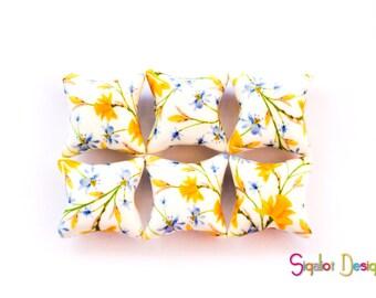 Polymer clay pillow beads - yellow blue flowers beads - handmade beads ceramic tile style  -millefiori beads - 20mm (6)