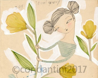 Original Watercolor woman with yellow flowers ON SALE