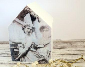 Angel art original photo on white wood house, black & white minimalist home decor, monochrome 5th wedding anniversary gift, mixed media