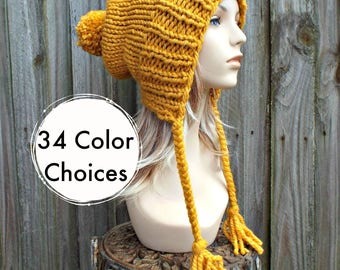Chunky Knit Hat Women Mustard Hat Mustard Beanie - Charlotte Slouchy Ear Flap Hat - Knit Accessories Gift For Her - 34 Color Choices