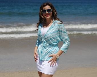 Aqua and White Stripe Cotton Kimono Cardigan T-Shirt Top, Beach Dolman Tunic, Diagonal Stripe Watercolor Bamboo Top, Water Top. Size M-XL