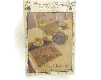 French Kitchen Tea Cozy Pattern with Placemats & Napkins