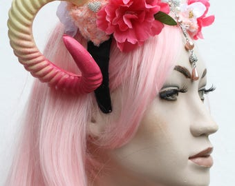 Maleficent Fairy Pink Pastel Goth Fawn Rams Horn Floral Crown Headband
