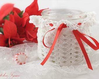 Mason Jar White Lace Candle Sleeve, Candle Cozy, Holiday Home Decor Decoration