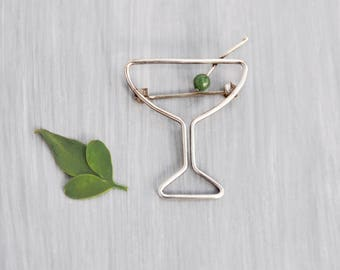 Vintage Sterling Silver Martini Brooch - wire glass with green gemstone olive - cocktail lover pin