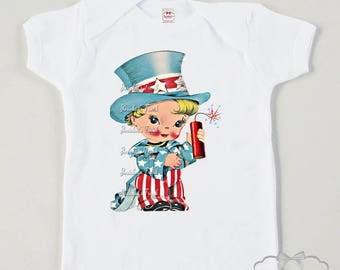 Boys July Shirt - Uncle Sam Patriotic Shirt - 4th of July Tshirt - Boys Retro Vintage Tee - American Shirt Retro - Boy Toddler 4th Infant