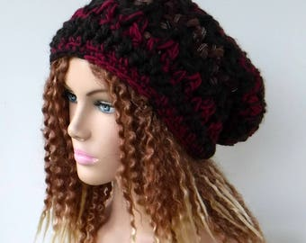 Thick Slouchy beanie hat, BoHo Chunky Hippie Hat, brown maroon bohemian beanie, woman grunge hat, slouch hipster, slouchy hat, dread tam