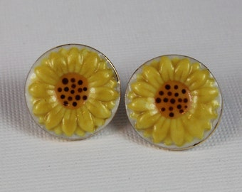 Yellow Sunflower Post Earrings Handmade Porcelain Ceramic Jewelry