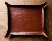 Large MONOGRAMMED Leather Catchall - Medium Brown / personalized catchall, valet tray, gift for him, anniversary, fathers day, valentines