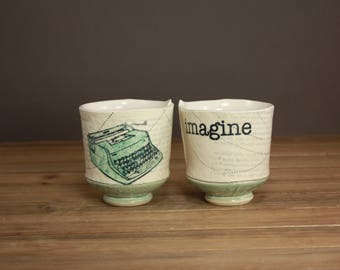 Handmade Imagine Whiskey Cup| Typewriter Cup| Graduation Gift| Writers Cup| Inspirational Tea Cup|