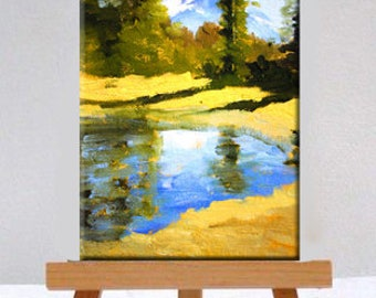 Landscape Oil Painting, Mountain Pond, Small Original, 5x7 Canvas, Blue Green, Gold, Trees, Reflection, Mountain Scene, Woodland Forest