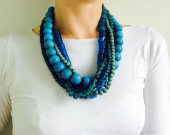 Quintet of Beautiful Blue & Aqua Glass Trade Bead Necklaces . Nepalese/Tibetan. Tribal. Beautiful!!
