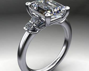 dallas ring – 3.5 carat emerald cut NEO moissanite engagement ring