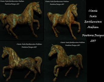Ceramic Horse Sculpture Finished in Faux Tarnished Bronze with Green Patina