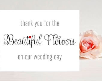 Wedding Card for Florist - Thank you for beautiful flowers - Card for wedding - Wedding Cards- Florist