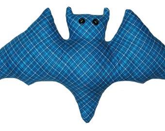 Blue Plaid Bat Pillow