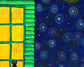 Black Cat window Night Sky print by Shelagh Duffett