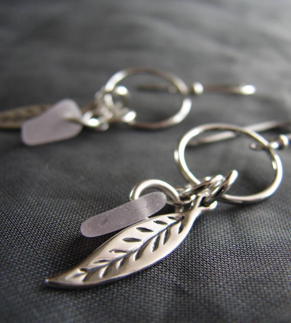 Boho Beach soft lavender sea glass earrings