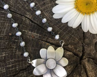 Daisy and Fresh Water Pearl Necklace Adjustable 16-18 Inches
