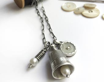 Necklace Bezel Set Vintage Mother of Pearl Button Antique Sterling Silver Thimble Bell Thimbell Freshwater Pearl Long Cable Chain Charm