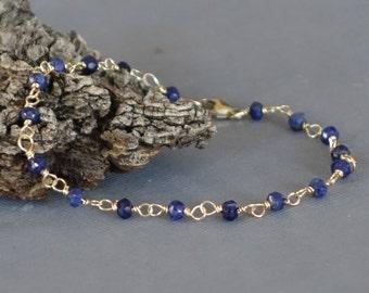 Lapis Bracelet, 14k Gold Wire Wrapped Blue Lapis Black Bracelet, 7 inches long, Lapis Lazuli Bracelet
