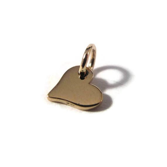 Tiny Heart Charm, Gold Heart Dangle, Natural Bronze, Little Charm for Making Jewelry, Charm Bracelet or Necklace (Ch vna913)