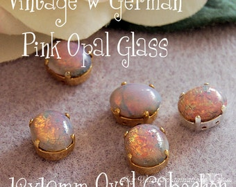 Pink Fire Opal, 2 Pcs Vintage West German Glass Cabochon 12x10mm Oval W/ Sew On Setting, October Birthstone, Cabochon Setting, Glass Setting