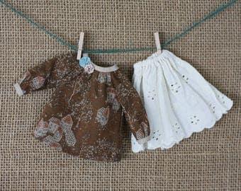 Poble Dress Top Skirt Set for Blythe Doll