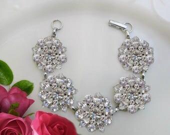 Chunky bracelet, Wedding Bracelet, Bridal Jewelry, Clear Crystal, rhinestone Bracelet, Statement Jewelry, Wedding Jewelry, Vintage style