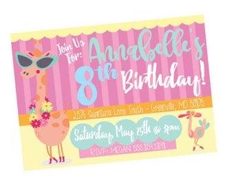 Girls Birthday Invitation, Birthday Party Invite, Giraffe Birthday Party, Animal Birthday Party, Fabulous Birthday Invite, Party Decor