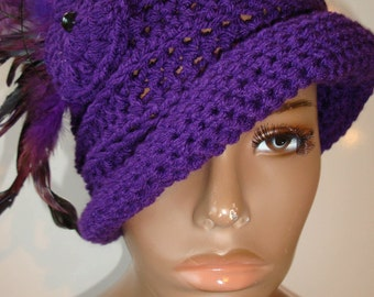 Purple Cloche Hat with Complimenting  Feathers -Lilac Crochet Hat - Black Hat - Crochet Cap - Custom colors available