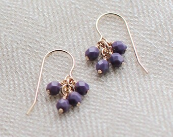"14k goldfill earrings - ""lucky"" faceted earrings in plum - handmade by elephantine"