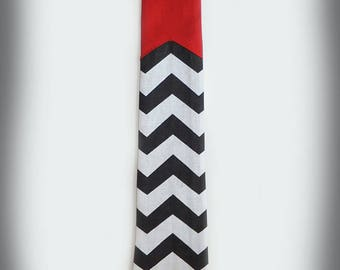 Chevrons & Red Twin Peaks Inspired Neck Tie.