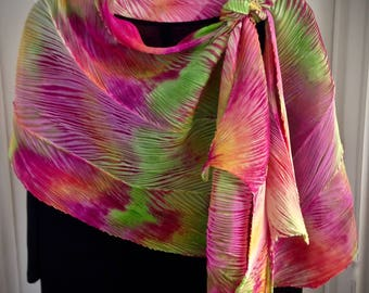 Kissin Cousins III - Arashi Shibori Hand Dyed & Hand Pleated Silk Shawl/Scarf