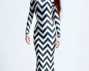 Black Zig Zag Twin Peaks Chevron Long Sleeved Alien Swan Necked Maxi Gown with Train