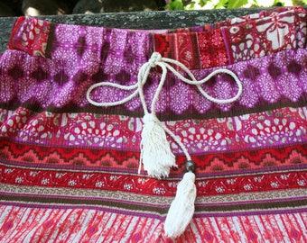 Pink tassel drawstring elastic hippie pants small rayon