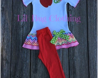Back To School Girl Outfit, Back To School  Apple Worm  Outfit, Back To School Girls Ruffled Tee & leggings Outfit