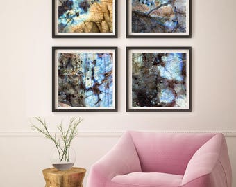 Set of 4 Labradorite Prints (115, 116, 117, 118)  Two Paper Choices-  Mineral Geode Agate Crystal Decor