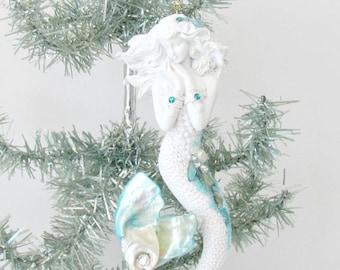 Mermaid Sculpture Xmas Ornament, Seashell Mermaid, Mermaid Bling Christmas Decor, Coastal Beach Xmas Decor, 00AK Mermaid, Mermaid statue