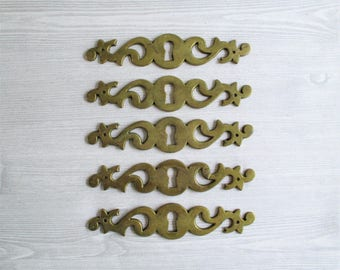 Five Vintage Brass Key Holes / Escutcheons