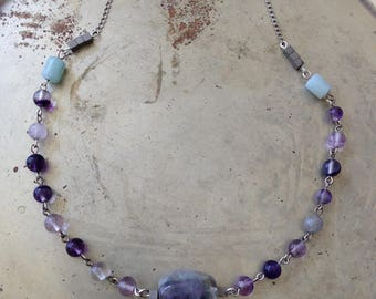 Rainbow Fluorite Amethyst Gemstone Beaded Choker Sterling Silver Necklace