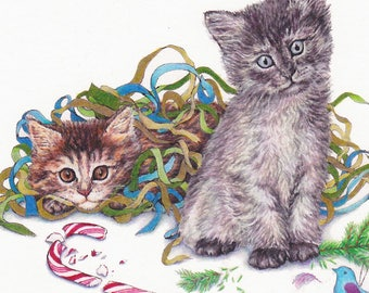 Naughty Kittens Card Christmas Image from an Original Color Pencil Drawing