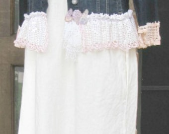 Upcycled ladies large jean jacket with vintage lace and crochet