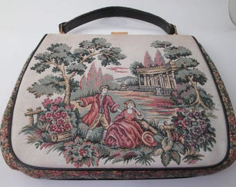 Vintage Tapestry Bag, Carpet Bag, La Marquise, Large Handbags, petit point purse, tapestry purse, Italian handbags, flower purse, garden